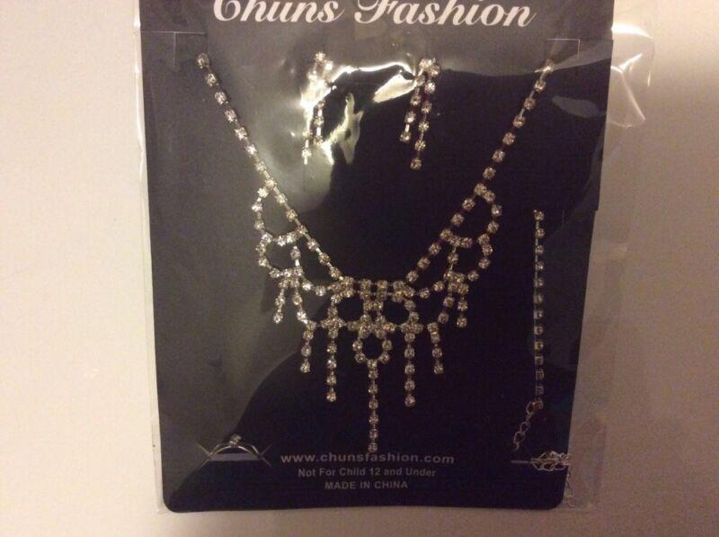 NEW CZECH Rhinestone Jewelry Necklace Set (5 Pc.) Prom Party Wedding Bridemaids