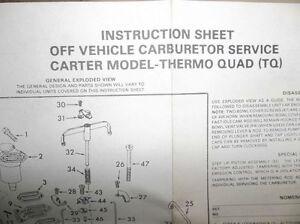 CARTER 902-329C DODGE THERMO-QUAD CARB KIT NEVER OPENED Belleville Belleville Area image 4