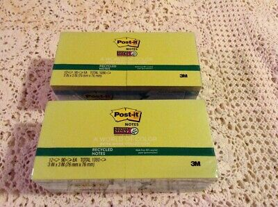 Lot Of 2-12 Pad Post-it Notes Super Sticky Recycled Notes Bora Bora Colors