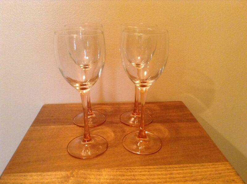 4 crystal pink stem Beverage wine glasses