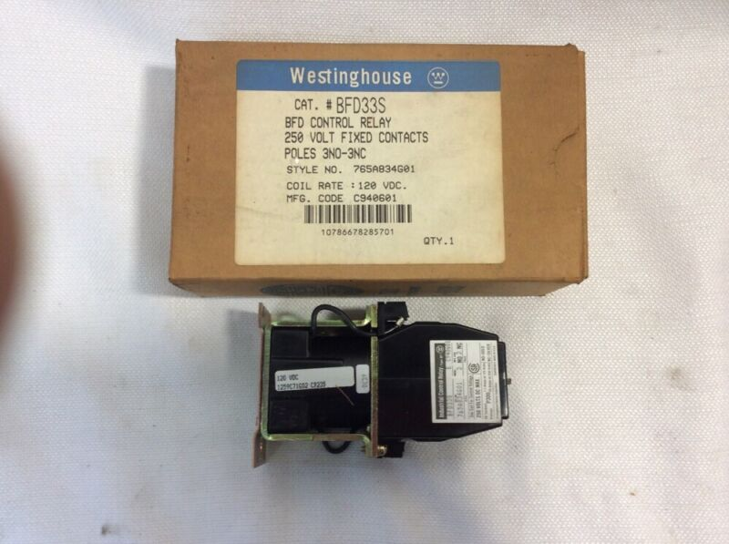 Westinghouse Industrial Control Relay BFD33S 250V Poles 3NO-3NC