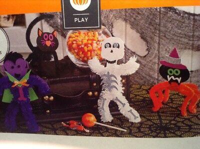 Makes 4 Decorate Your Own Halloween Fuzzy Friends Kit Foam Craft Activity - Halloween Masks Craft Activity