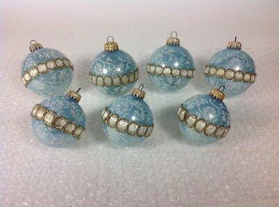 7 Vintage KREBS West Germany Glass Ball Ribbon & Glitter Christmas Tree Ornament