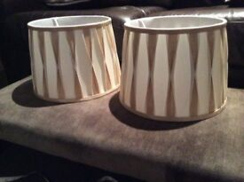 A pair of ivory and gold lamp shades 30cm x 22cm from Homebase
