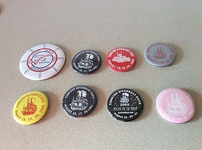 Lot of 8 Yankton Riverboat Days Buttons Yankton, South Dakota