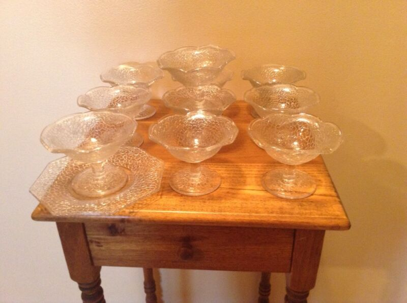 10 vintage LE Smith By Cracky champagne sherbert dessert glasses with plates