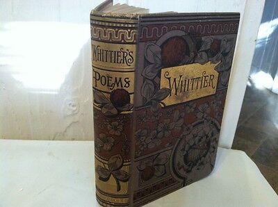 Antique Whittiers Poems Hc Embossed Gold Belford  Clarke   Co  John Whittier