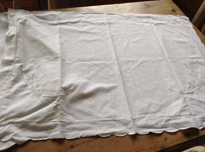 2 Large Italian  Vintage White Pillowcases