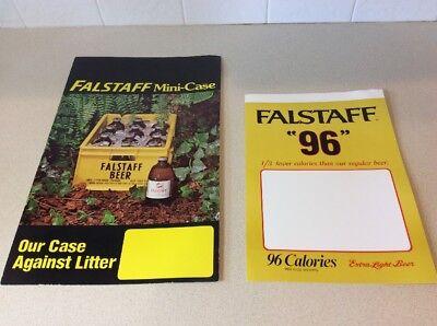 """2~Falstaff Beer Advertising Posters """"96"""" Extra Light Beer & Falstaff Mini-Case"""
