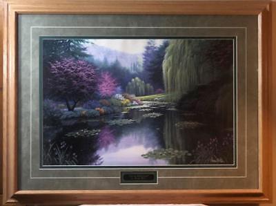 Charles White Art Prints - Charles White Spring Reflections Garden Pond Art Print-Famed 33 x 25