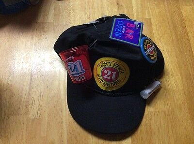 21st Birthday Hats (21st BIRTHDAY NOVELTY HAT CAP GOODBYE BOUNCER HELLO BARTENDER SNAP BACK)