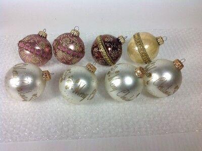 8 Vintage KREBS West Germany Glass Ball Ribbon & Stencil Christmas Tree Ornament