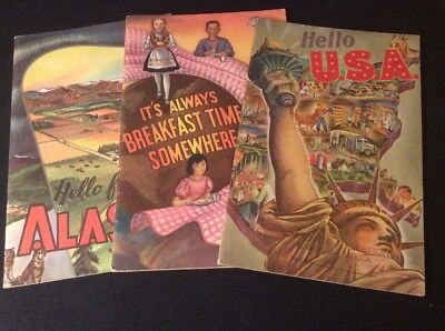3 Vintage National Dairy Council Booklets Hello from Alaska Hello USA Breakfast