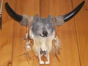 Wolf face on Cow Skull