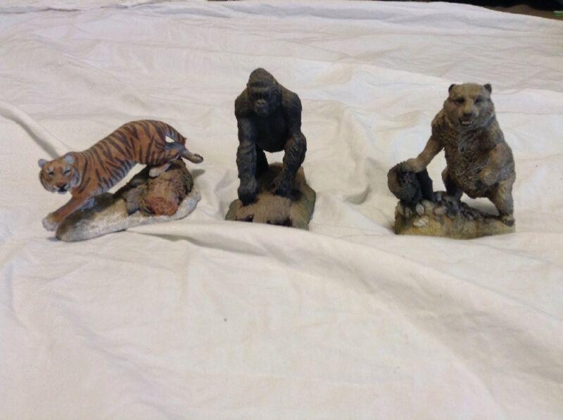 FRANKLIN MINT WILDLIFE PRESERVATION  BROWN BEAR Tiger Gorilla figure Sculptures+