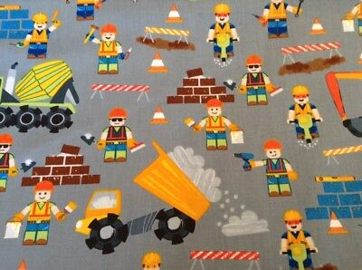 Fabric Lego Construction NEW 6113 gray background,  sold by the yard