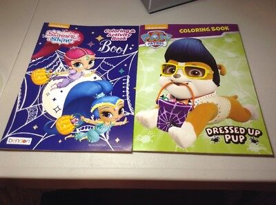 Lot of 2 Halloween Activity and Coloring Books, Paw Patrol and Shimmer and Shine