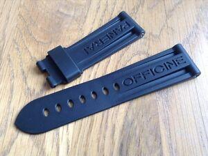 OFFICINE PANERAI OEM 24mm BLACK RUBBER STRAP FOR DEPLOYMENT BRAND NEW