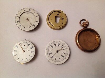 Antique Pocket Fob Watch Movements Case And Parts