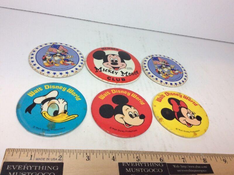 "6 PC Mickey Mouse Club Minnie Donald Duck Goofy 3"" Badge Pins Button Walt Disney"