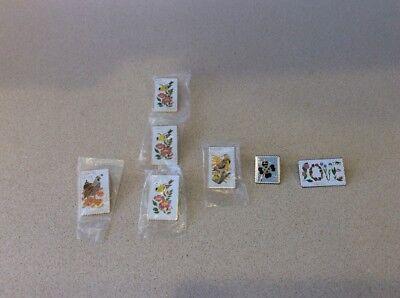 Lot of 7 Postage Stamp 20 Cent  Lapel Hat Pins State birds Nebraska Iowa CA +++