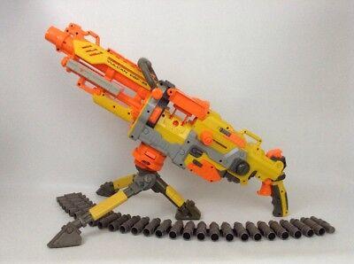 Nerf Gun N-Strike Vulcan EBF-25 Lot Tripod Belt Ex Barrel w/ 13 Darts Full Auto