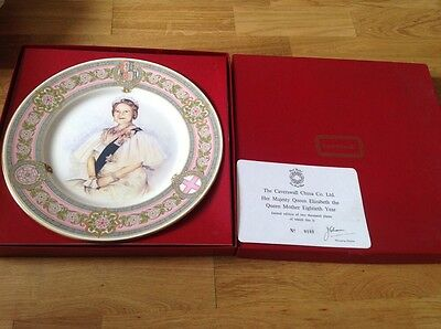 Caverswall Limited Edition Plate To Honour The 80th Birthday Queen Mother Boxed