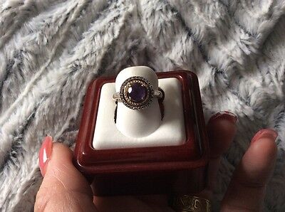Amethyst and Diamond Accent Ring in Sterling Silver and 14k Yellow Gold