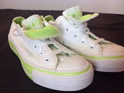 Converse Chuck ALL STAR Double Tongue Men 3 Women 5 White Green Clean