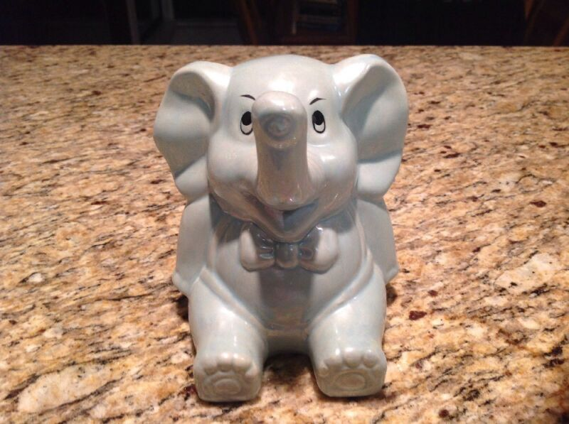 Vintage Blue Elephant Coin Piggy Bank, Bow Tie, Missing Stopper
