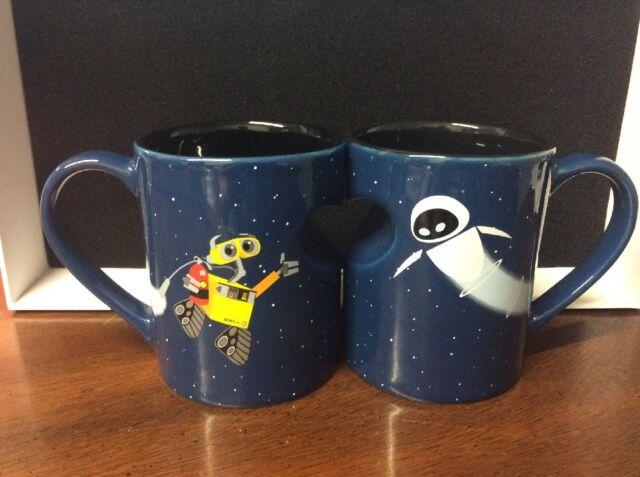 Disney Parks Wall E And Eve Ceramic Coffee Mug Set New