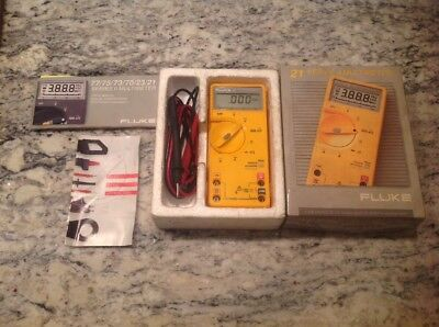 Fluke 21 Series Ii Multimeter Wcables Tested. Excellent Shape In Box. Free Ship