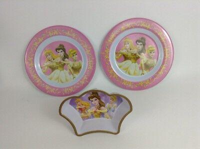 Disney Princess Plates & Bowl 3pc Lot Kcare Disney Store Plastic Melamine - Princess Plates