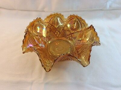 """CARNIVAL GLASS - IMPERIAL HOBSTAR & ARCHES Marigold 9"""" Ruffled Bowl"""