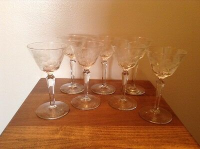 7 quality vintage cut glass crystal Cordial glasses floral pattern