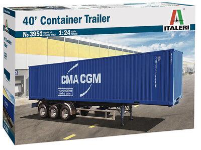 Italeri 3951 40' Container Trailer 1:24 unlackierter Bausatz Auflieger Anhänger