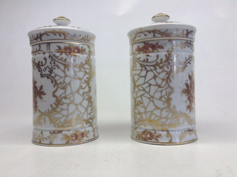 Pair Of Porcelain Hand Painted Pommade Pots Made In France