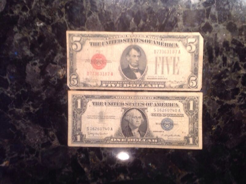 1928 B $5 USN - Red Seal + 1957B $1 Silver Certificate - Blue Seal