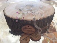 **Bespoke Centrepiece Wedding Logs / Hangers / Candle Logs - Buy/Hire - Delivered**