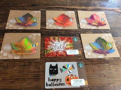 FALL 2017 STARBUCKS 7 CARD SET DIE CUT LEAVES & HALLOWEEN no value loaded yet