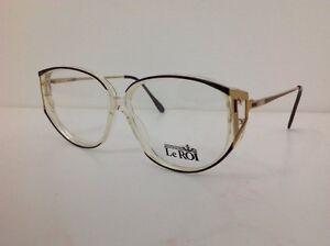Le-Roi-Occhiale-Da-Vista-Vintage-1980-Donna-Elegant-Plastica-Nero-Oro-Trasparent