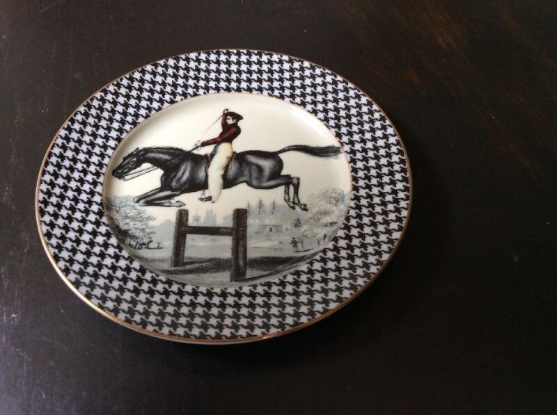 Vtg Fitz & Floyd  Equestrian Steeplechase Scene Decorative Plate