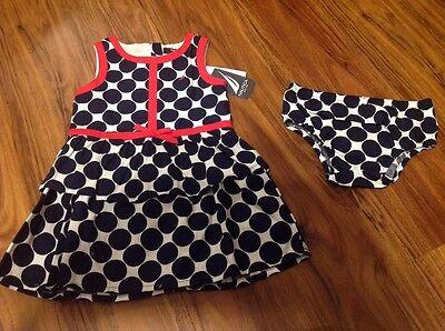 Nautica Infant Girls Navy Blue White &Red Polka Dot Dress & Bloomers Sz 18M Cute