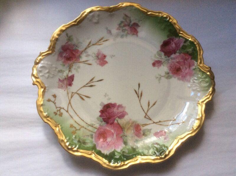 Antique Large Limoges Roses & Gold Paste Platter c1906-1914