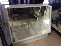 STORE DISPLAY CABINET - White with Mirrors and glass shelves