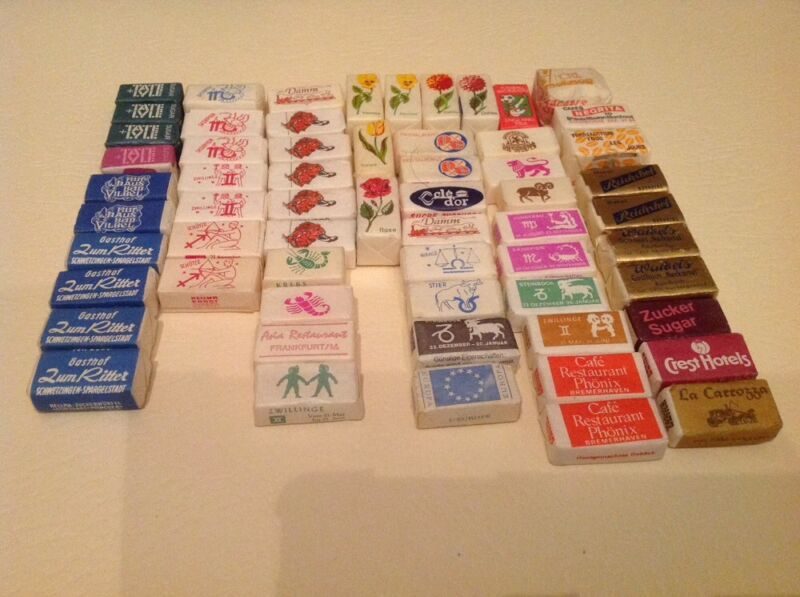Lot of 61 Vintage Foreign AdvertIsing Sugar Cubes / Label Collection RARE