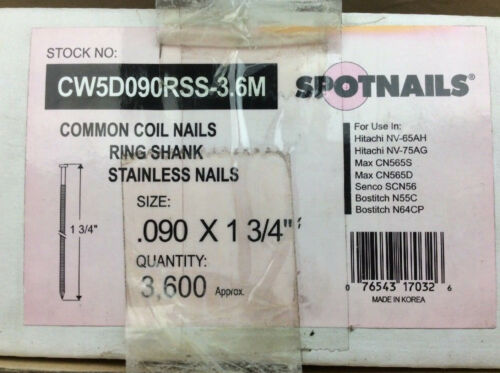 "Spotnails Common Coil Nails Stainless .090 x 1-3/4"" 3,600ct. CW5D090RSS-3.6M"