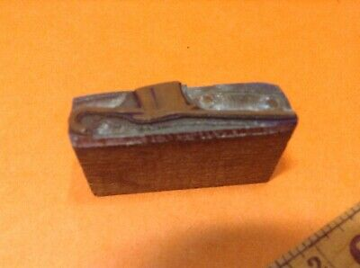 Vintage Metal On Wood Printing Block- Top Hat And Cane