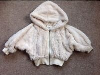 GORGEOUS NEXT FLUFFY CREAM JACKET AGE 7 YEARS VERY TRENDY