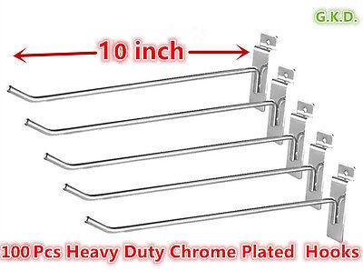100 Pc 10 Slatwall Hooks Slat Wall Board Shelf Shelving Heavy Duty Chrome Plate